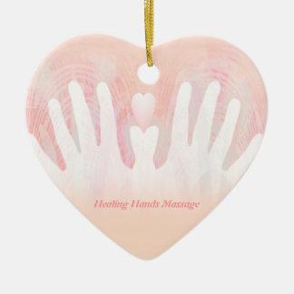 Healing Hands Massage Ceramic Heart Ornament
