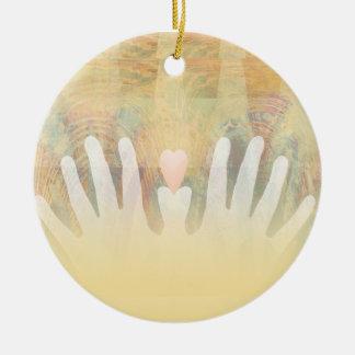Healing Hands Massage Round Ceramic Ornament