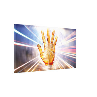 Healing hands with energy surrounding vibrating gallery wrap canvas