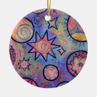 Healing Light Abstract Cosmic Pattern Ceramic Ornament