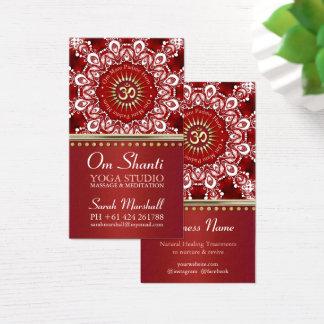 Healing Om Shanti Red White Mandala Yoga Business Business Card