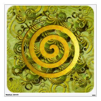 Healing Power - green circle and golden spiral Wall Sticker