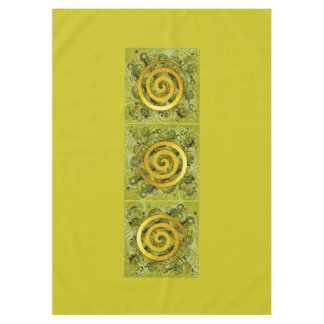 Healing Power Spiral gold green + your ideas Tablecloth