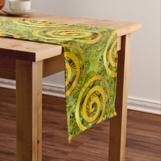 Healing Power Spirals gold green + your ideas Long Table Runner