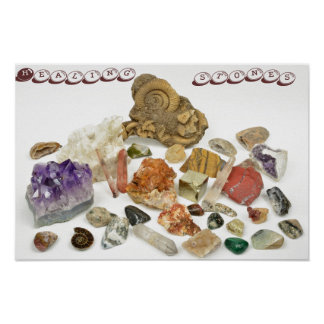 Healing stones, ametyst,quartz,opal,tourmaline poster