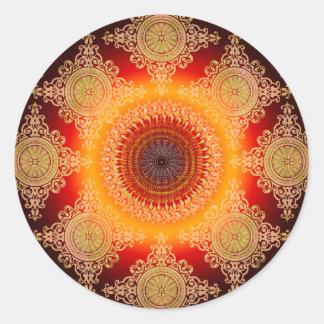 Healing Warmth Mandala Classic Round Sticker