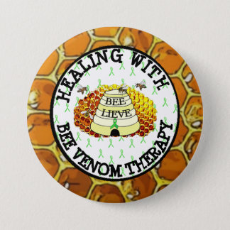 Healing with Bee Venom Therapy Lyme Ribbon Button