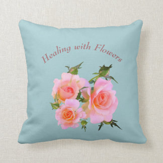 Healing with Flowers Roses design Throw Pillow