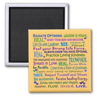 healing words collage square magnet