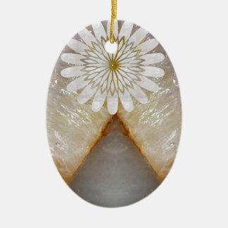 HealingSTONE Crystal Marble Vintage Temple Art Ceramic Oval Ornament