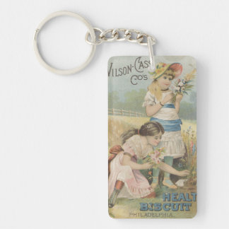 Health Biscuit Girls Picking Flowers Ephemera Double-Sided Rectangular Acrylic Keychain