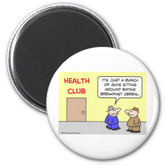 health club eating breakfast cereal 2 inch round magnet