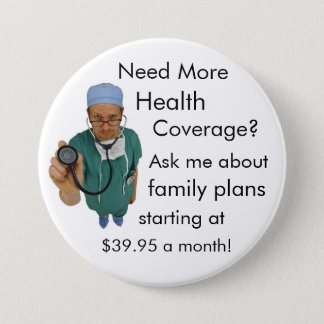 Health Coverage 3 Inch Round Button