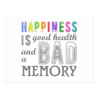 Health Equals Bad Memory Funny Phrase Postcard