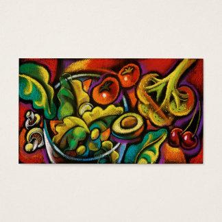 Health food salad art business cards
