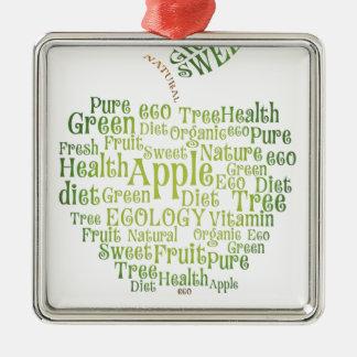 Health Green Eco Friendly Silver-Colored Square Ornament