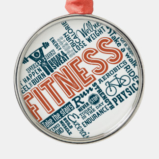 Health, Gym & Fitness gear and apparel Silver-Colored Round Ornament