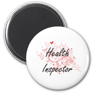 Health Inspector Artistic Job Design with Butterfl 2 Inch Round Magnet