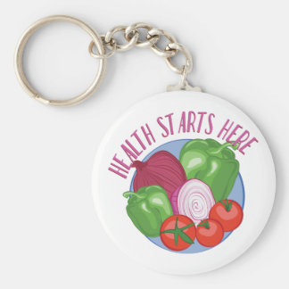 Health Starts Here Basic Round Button Keychain