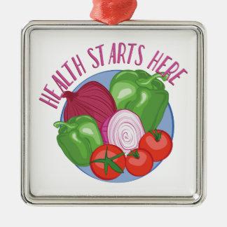 Health Starts Here Silver-Colored Square Ornament