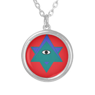 health,wealth,happiness triangles silver plated necklace