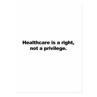 Healthcare is a right, not a privilege postcard