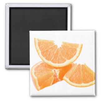 Healthful cut oranges square magnet