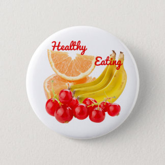 Healthy Colorful Fruits: Oranges, Bananas,Berries 2 Inch Round Button