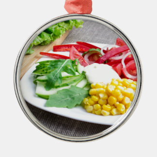 Healthy dish made from natural  ingridients Silver-Colored round ornament