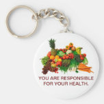 Healthy Eating Customized Keychain. Basic Round Button Keychain