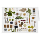 Healthy food grid on a white background. card