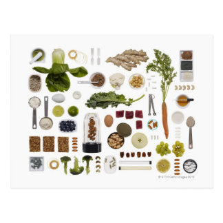 Healthy food grid on a white background. postcard