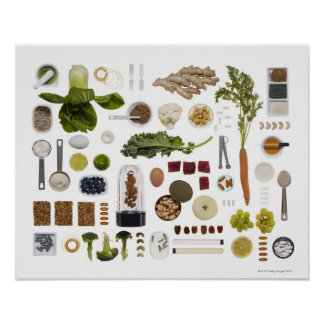 Healthy food grid on a white background. poster
