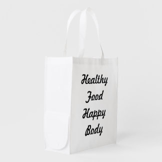Healthy Food Happy Body Reusable Grocery Bag