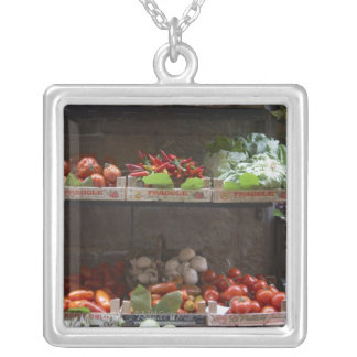 healthy fresh produce silver plated necklace