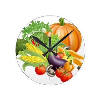 Healthy fresh produce vegetables round clock