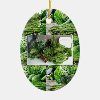 Healthy green leafy vegetable salads chefs cuisine ceramic oval ornament