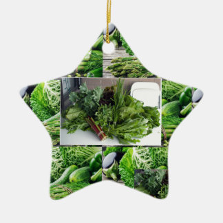 Healthy green leafy vegetable salads chefs cuisine ceramic star ornament
