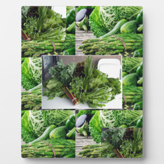 Healthy green leafy vegetable salads chefs cuisine display plaques