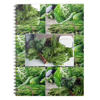 Healthy green leafy vegetable salads chefs cuisine notebooks
