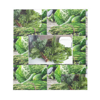 Healthy green leafy vegetable salads chefs cuisine notepads