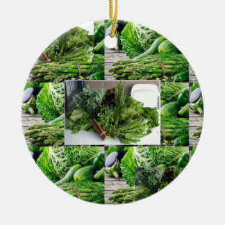 Healthy green leafy vegetable salads chefs cuisine round ceramic ornament