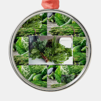 Healthy green leafy vegetable salads chefs cuisine Silver-Colored round ornament