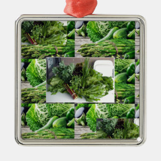 Healthy green leafy vegetable salads chefs cuisine Silver-Colored square ornament