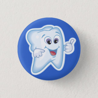 Healthy Happy Tooth 1 Inch Round Button