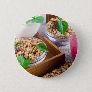 Healthy ingredients for breakfast 2 inch round button