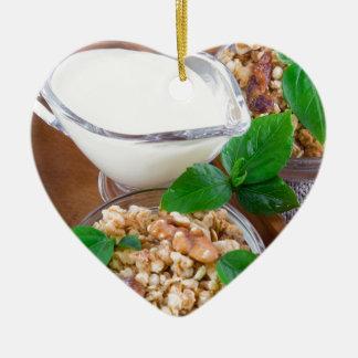 Healthy ingredients for breakfast ceramic heart ornament