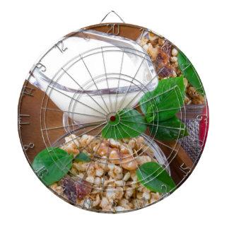 Healthy ingredients for breakfast dartboard