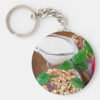 Healthy ingredients for breakfast keychain