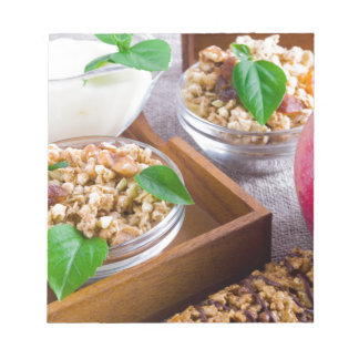 Healthy ingredients for breakfast notepad